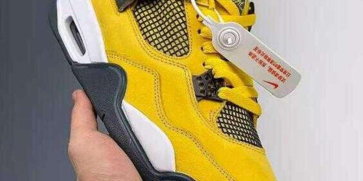 New Style Air Jordan 4 Retro LS Lightning Tour Yellow Dark Blue Grey White 314254-702